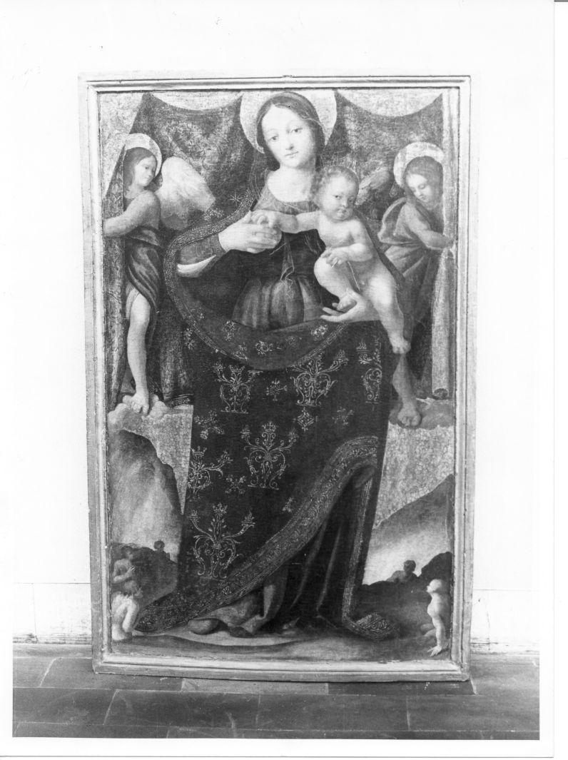Madonna con Bambino, angeli e anime purganti (scomparto di polittico, elemento d'insieme) di Sabatini Andrea detto Andrea da Salerno (sec. XVI)