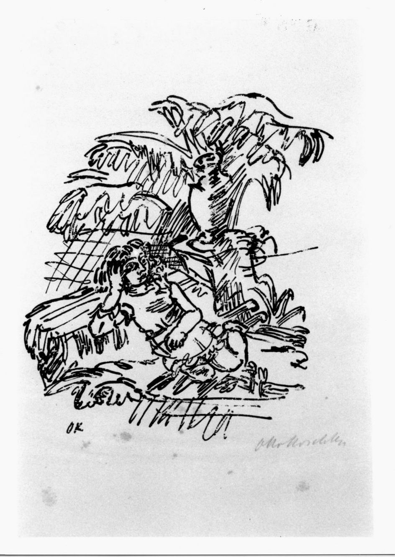 Mädchen vor strauch und vase, Fanciulla davanti a un cespuglio e vaso (stampa) di Kokoschka Oskar (sec. XX)