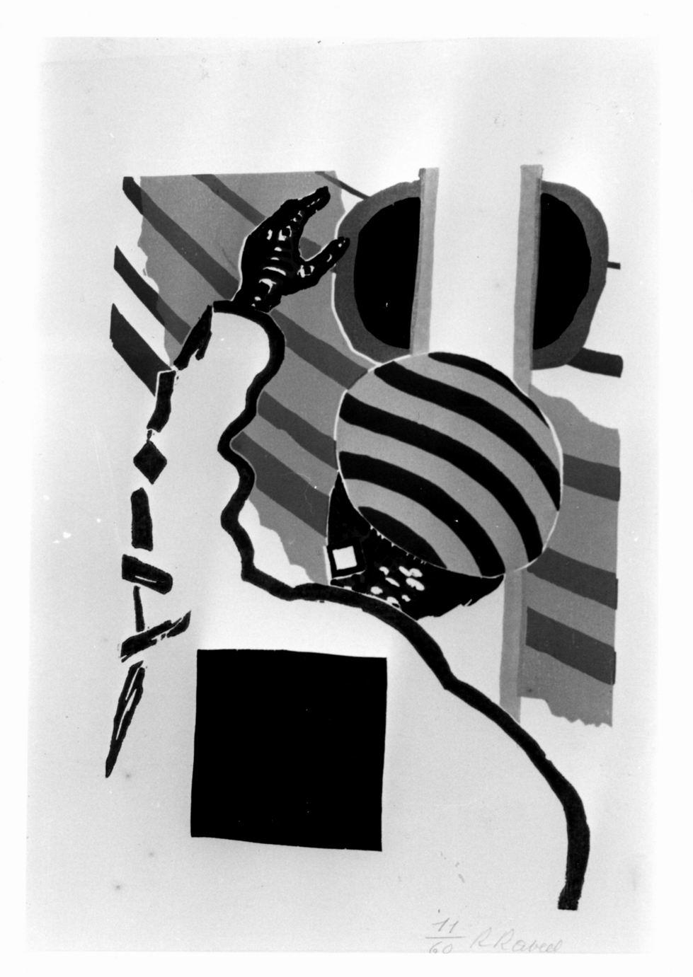 Marinaio di spalle in atto di salutare (stampa a colori) di Raveel Roger (sec. XX)