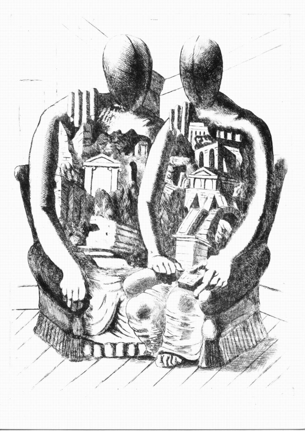 archeologi, coppia di figure con rovine archeologiche (stampa) di De Chirico Giorgio (sec. XX)