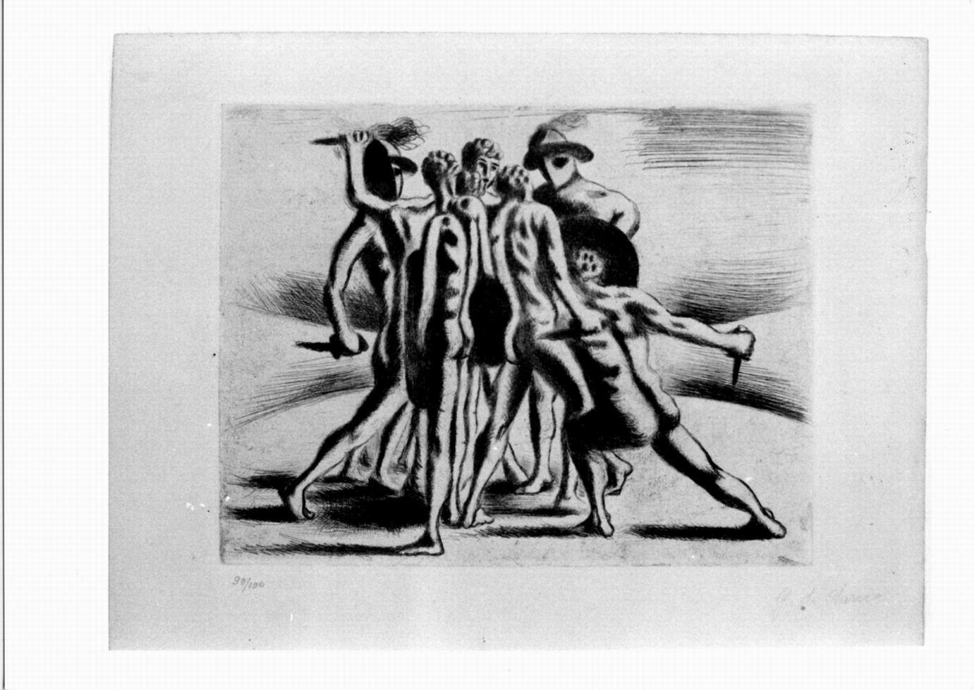 combattimento di gladiatori (stampa) di De Chirico Giorgio (sec. XX)
