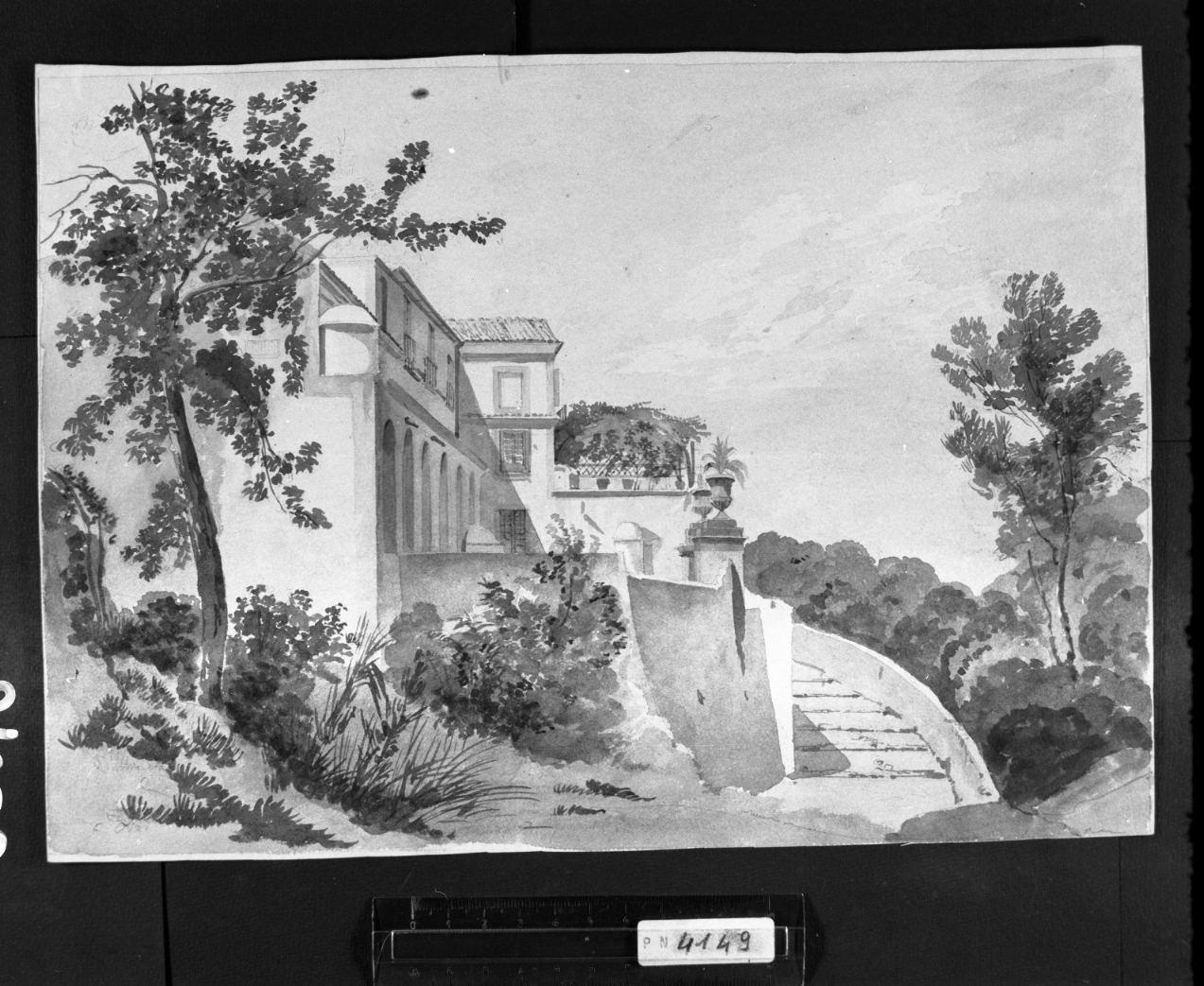 palazzo visto di fianco sulla collina (disegno) di Faccioli Raffaele (attribuito) (sec. XIX, terzo quarto)