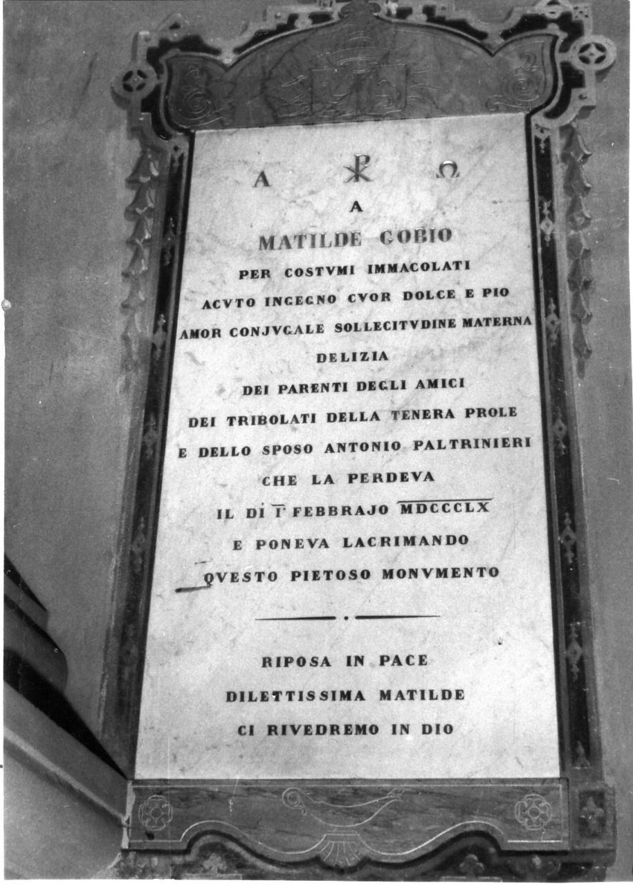 lapide commemorativa - bottega carpigiana (sec. XIX)