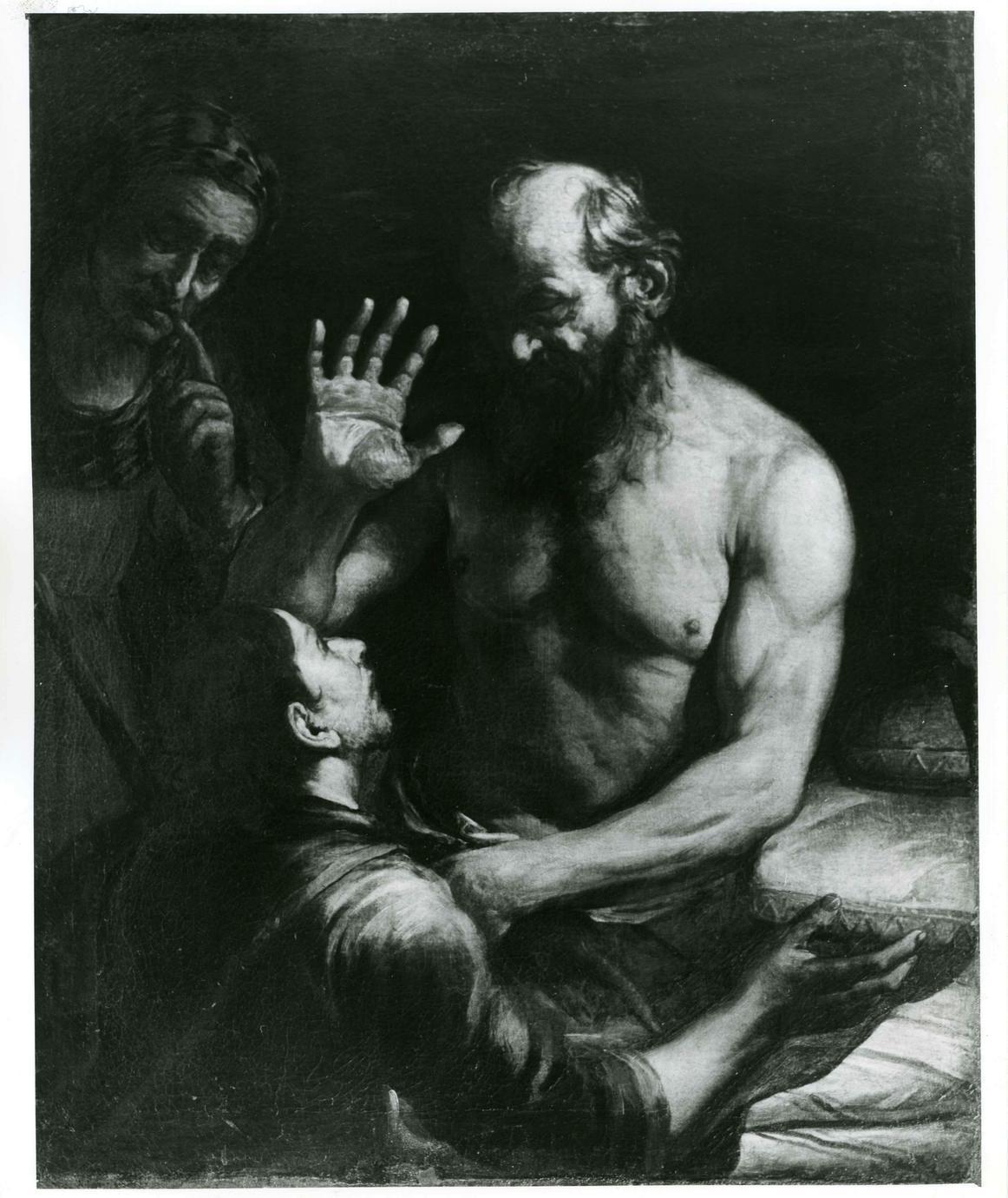 Isacco benedice Giacobbe (dipinto) di Loth Johann Carl (attribuito) (sec. XVII)