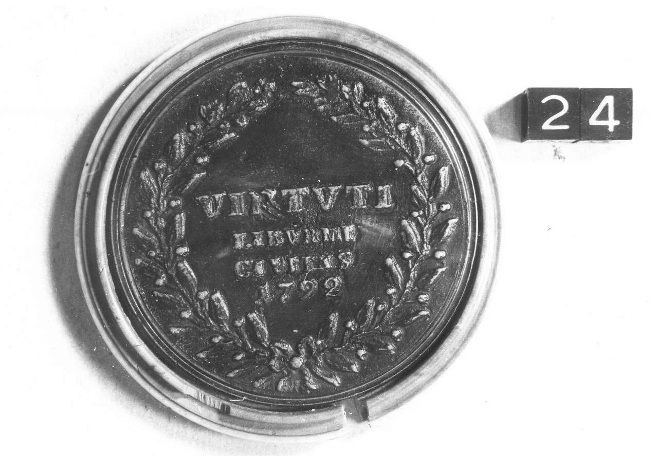 medaglia di Weber Giovanni Zanobio (fine sec. XVIII d.C)