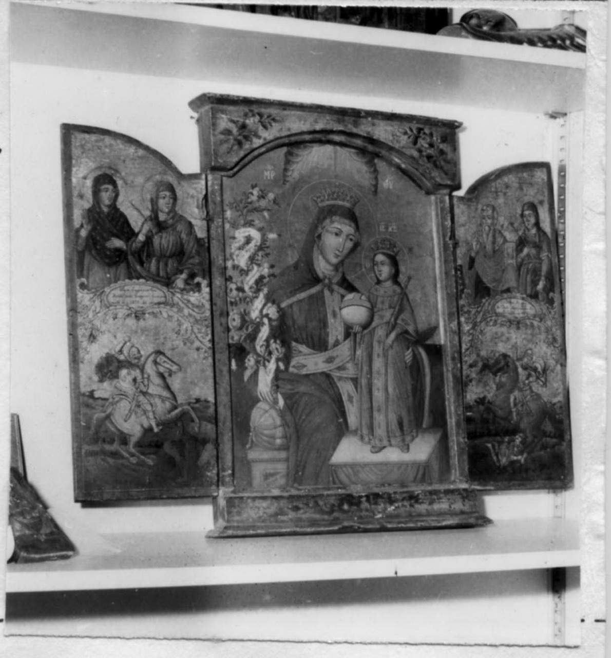 Madonna con Bambino e Santi (trittico) - ambito balcanico (metà sec. XIX)