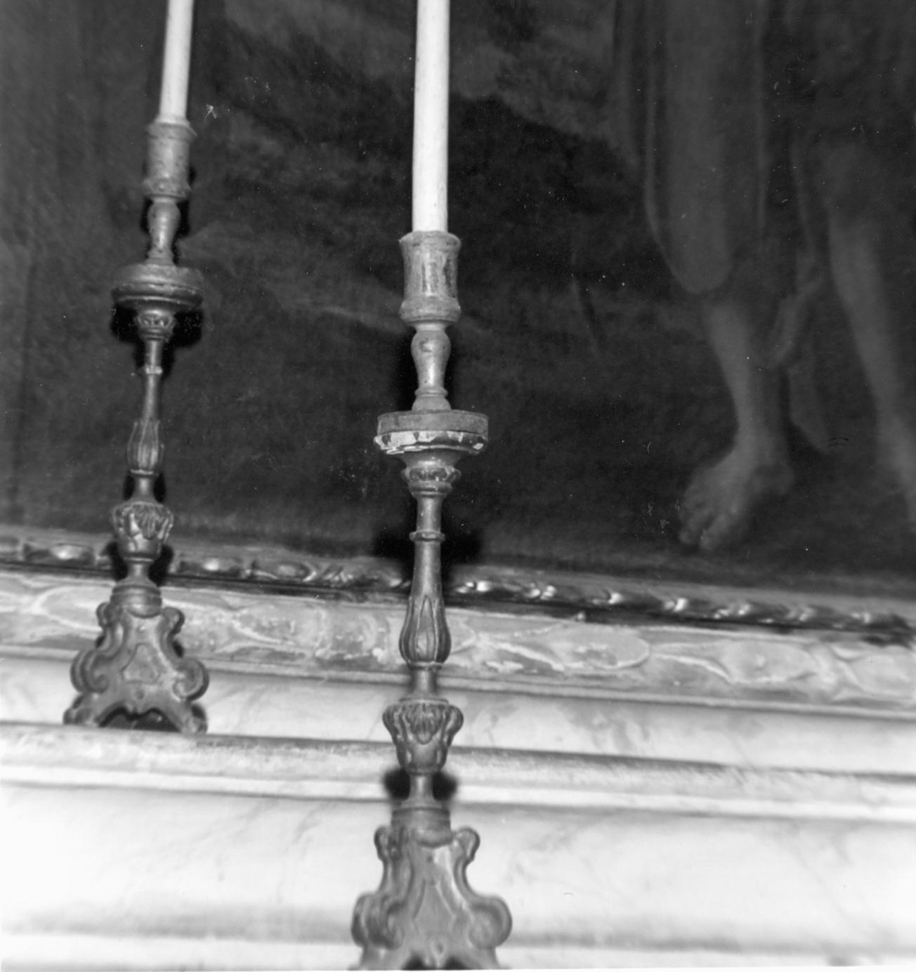 candeliere d'altare, coppia - bottega emiliana (metà sec. XVIII)