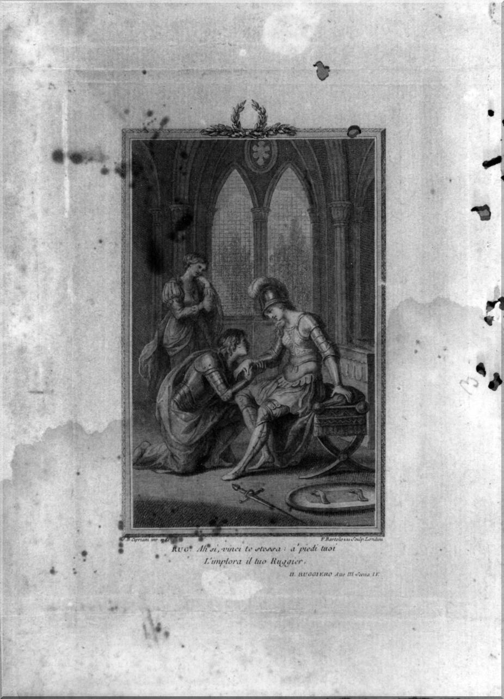 guerrieri con un trofeo d'armi (stampa, elemento d'insieme) di Bartolozzi Francesco, Cipriani Giovanni Battista (sec. XVIII)