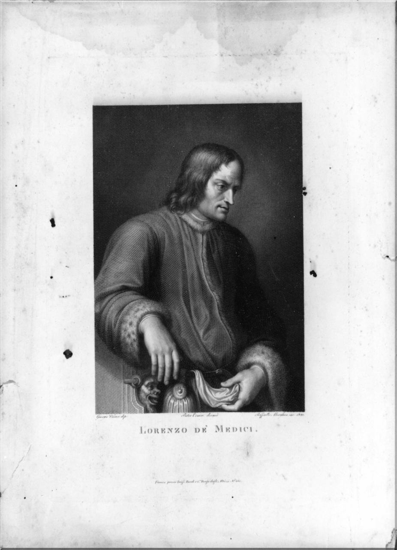 ritratto di Lorenzo de' Medici (stampa, elemento d'insieme) di Ermini Pietro, Vasari Giorgio, Morghen Raffaello (sec. XIX)