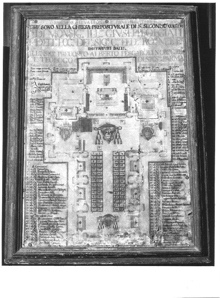 Pianta della chiesa dell'Annunciazione di Maria Vergine con la distribuzione dei banchi (stampa) - ambito parmense (sec. XVIII)