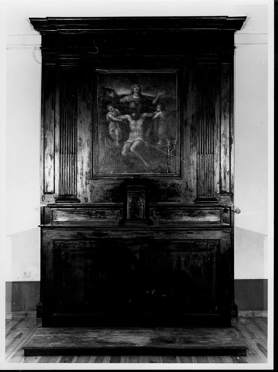 Cristo in pietà sorretto da angeli (altare, insieme) - ambito ligure, bottega ligure (sec. XVII)