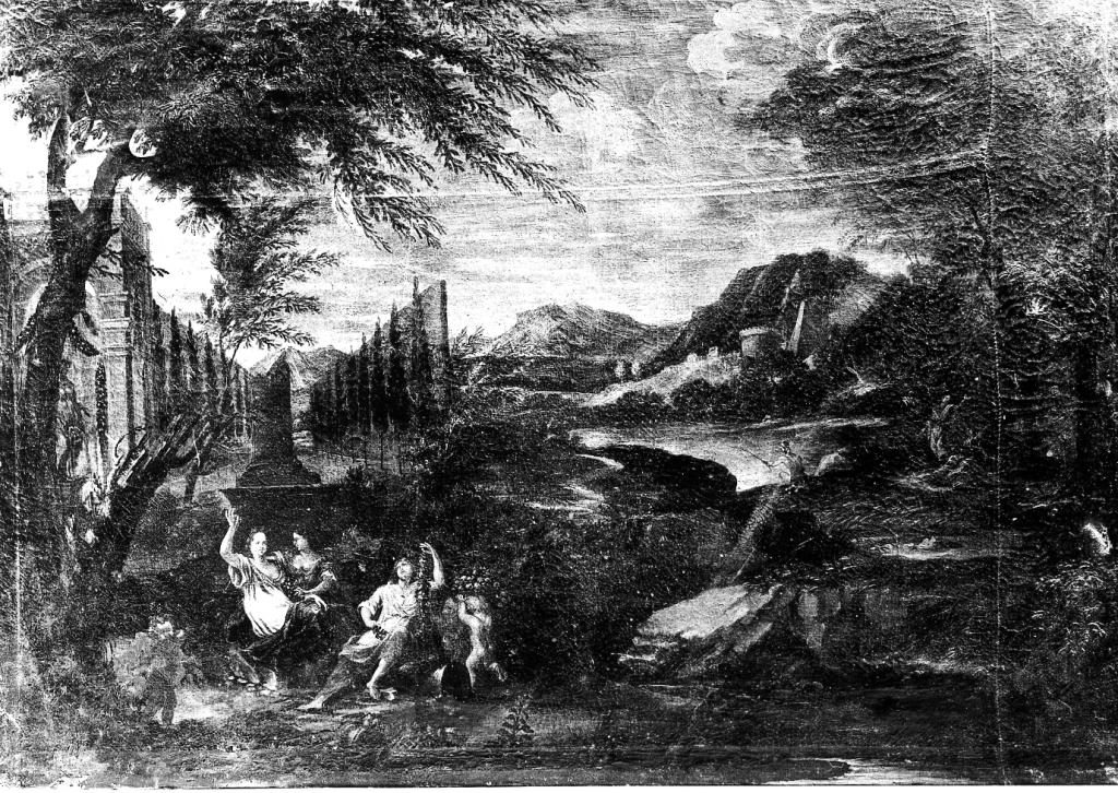 scena campestre con figure (dipinto) - manifattura italiana (sec. XVIII)