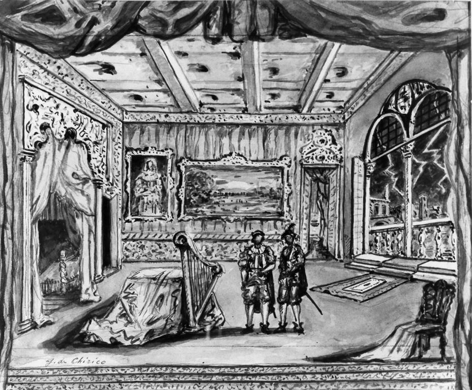 bozzetto per scenografia, serie di De Chirico Giorgio (sec. XX)