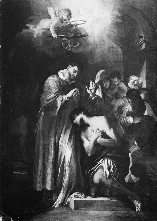 San Pietro in carcere battezza Processo e Martiniano (dipinto) di Passeri Giuseppe (attribuito) (sec. XVIII)