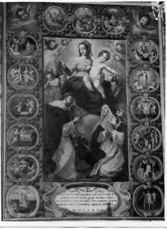 Madonna del Rosario con San Domenico e devoti (dipinto) di Passeri Giuseppe (attribuito) (sec. XVI, sec. XVIII)