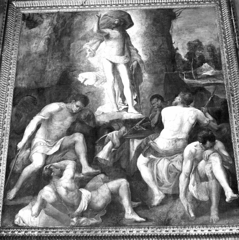 resurrezione di Cristo (dipinto) di Franco Battista detto Semolei (sec. XVI)