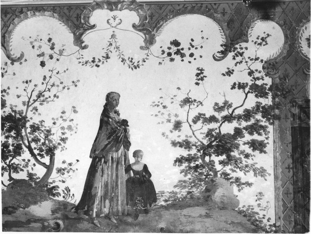 scena campestre con figure (dipinto, ciclo) - ambito francese (sec. XVIII)