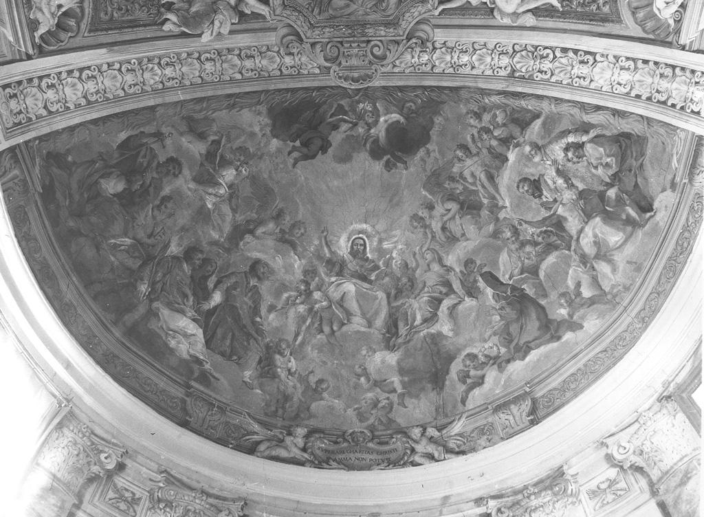 Cristo in gloria e Santi (decorazione pittorica) di Passeri Giuseppe (attribuito) (sec. XVII)