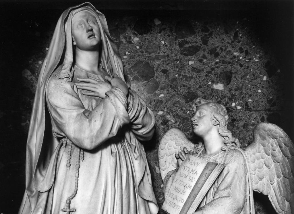 S. Francesca Romana e l' Angelo (gruppo scultoreo) di Meli Giosuè (sec. XIX)