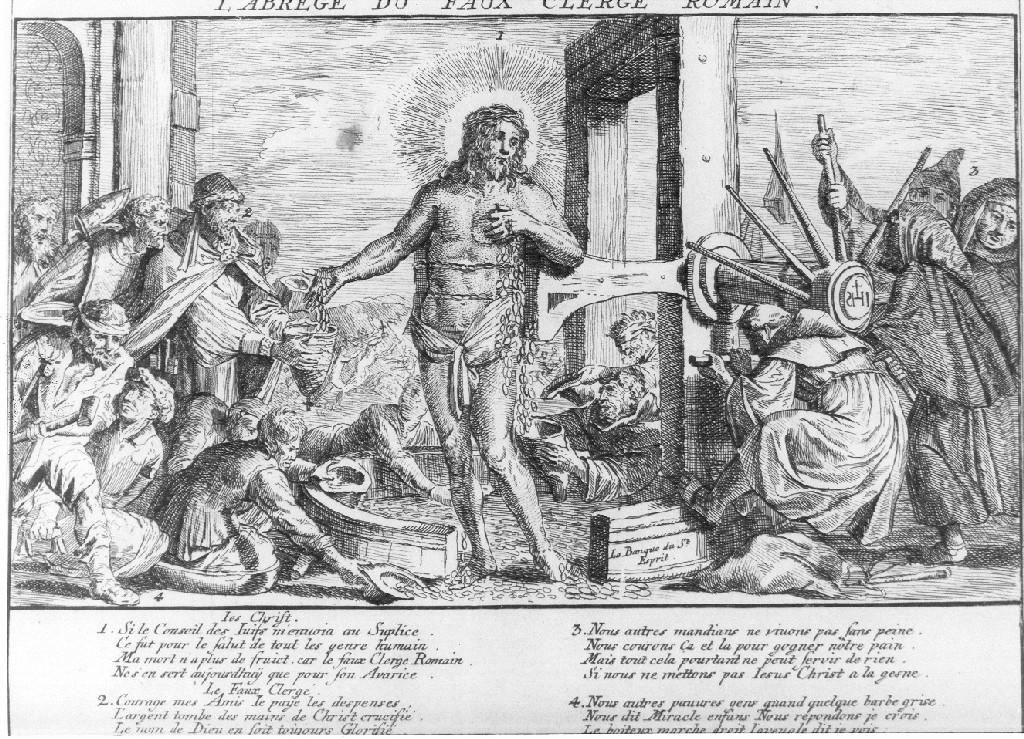 Cristo in una satira della religione Cristiana (stampa smarginata, serie) di Dusart Cornelis (sec. XVII)