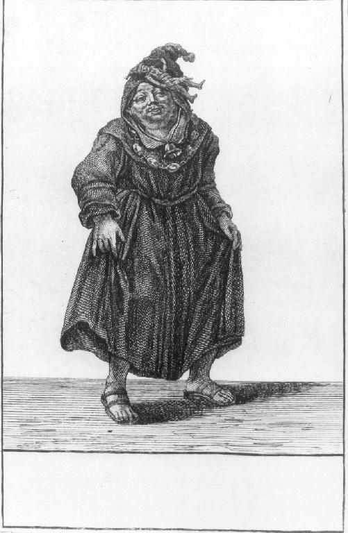 Caricatura di un frate (stampa smarginata, serie) di Dusart Cornelis (sec. XVII)