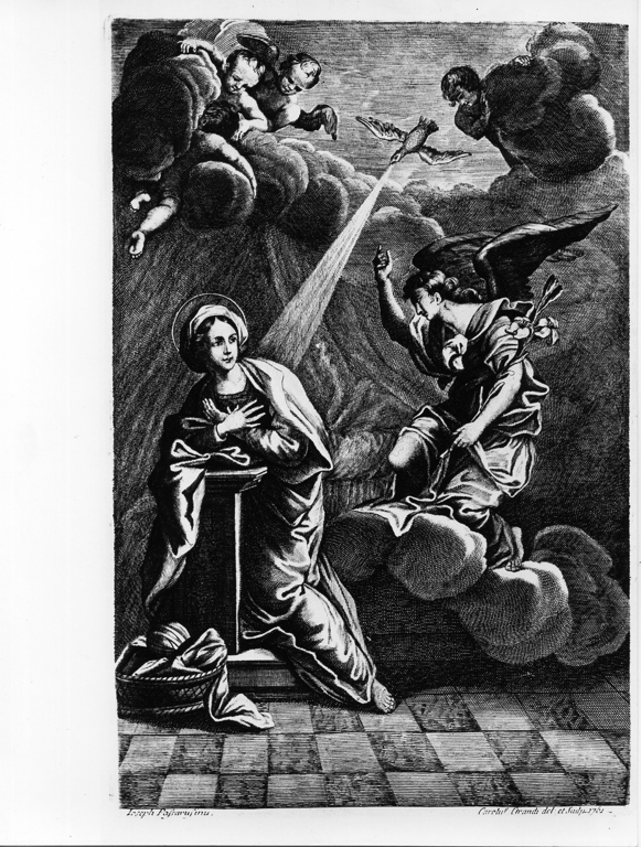 Annunciazione (stampa, elemento d'insieme) di Grandi Carlo (attribuito), Passeri Giuseppe (attribuito) (sec. XVIII)