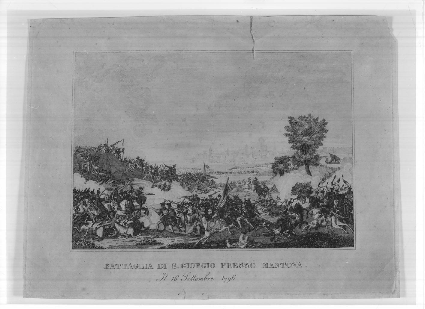 Battaglia di San Giorgio presso Mantova del 15 settembre 1796 (stampa smarginata) di Duplessi Bertaux Jean, Dupréel J.D.B, Vernet Carle (sec. XIX)