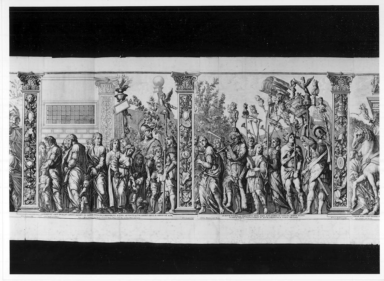 Prigionieri, buffoni e soldati// Musici e portatori di insegne (stampa tagliata, serie) di Van Auden Aerd Robert, Mantegna Andrea, Andreani Andrea (sec. XVII)