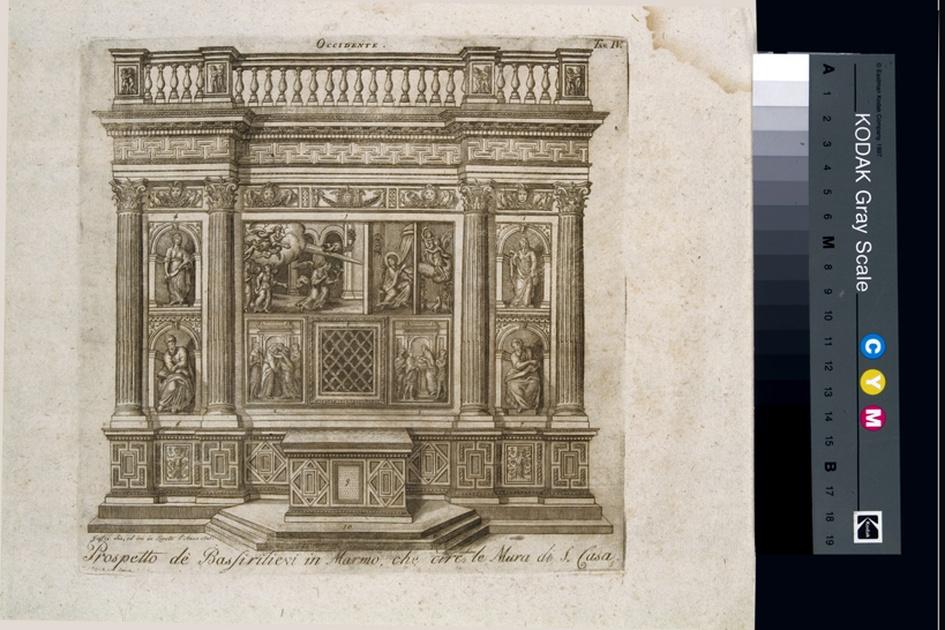 Prospetto de' Bassirilievi in Marmo, che circondano le Mura di S. Casa, veduta del prospetto ovest della casa di Loreto (stampa, serie) di Jaffei V, Bramante Donato (sec. XIX)