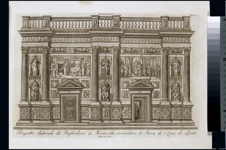 Prospetto de' Bassirilievi in Marmo, che circondano le Mura di S. Casa, veduta del prospetto nord della casa di Loreto (stampa, serie) di Jaffei V, Bramante Donato (sec. XIX)