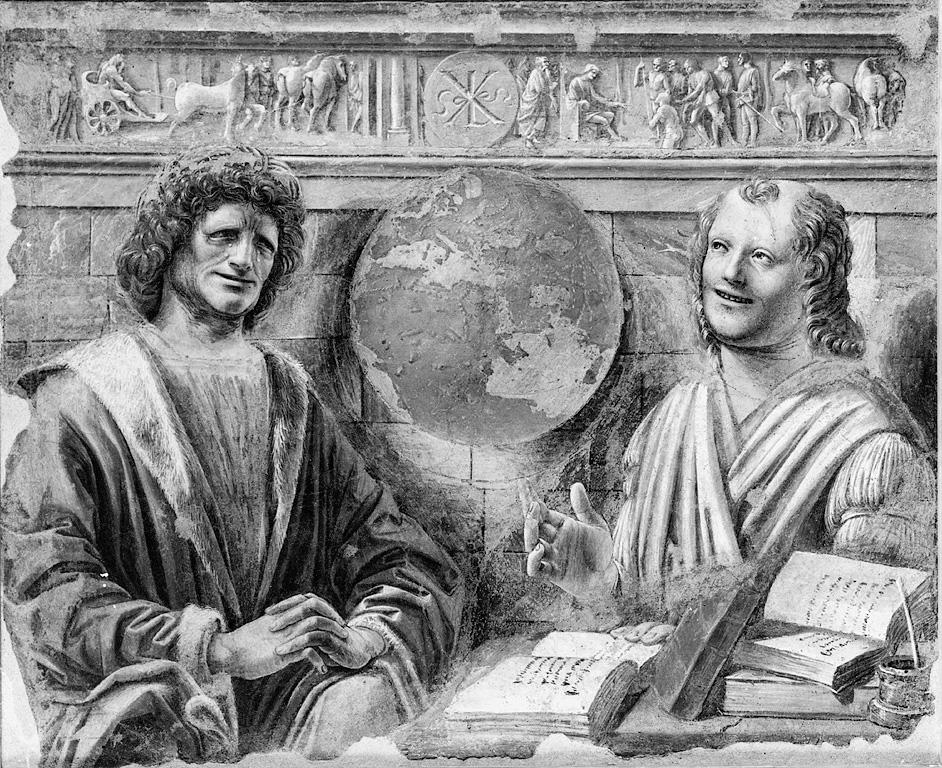 Eraclito e Democrito, Eraclito e Democrito (dipinto) di Bramante Donato (sec. XV)