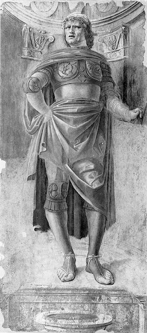 L'uomo dallo spadone, figura maschile con spadone (dipinto, frammento) di Bramante Donato (sec. XV)