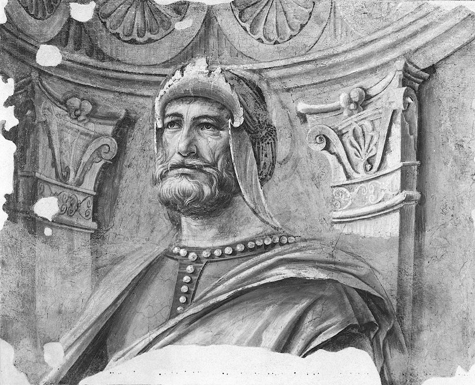 Uomo d'arme, figura maschile (dipinto, frammento) di Bramante Donato (sec. XV)