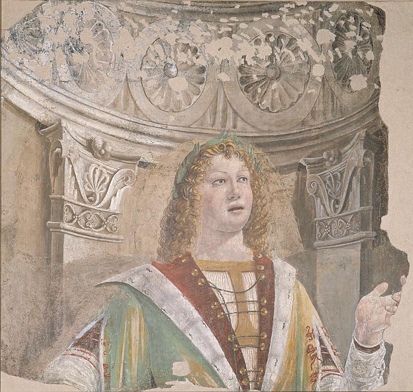 Il cantore, figura maschile che canta (dipinto, ciclo) di Bramante Donato (sec. XV)