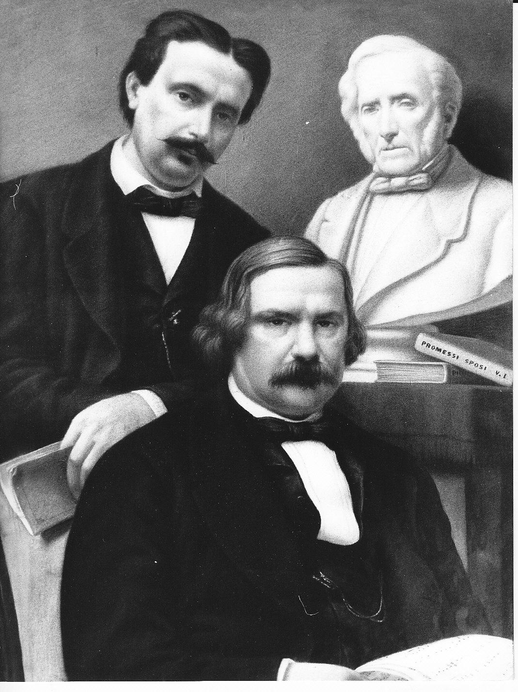 ritratto di Antonio Ghislanzoni e Errico Petrella con il busto di Alessandro Manzoni (dipinto, opera isolata) di Grisaldi Ettore (attribuito) (sec. XIX)