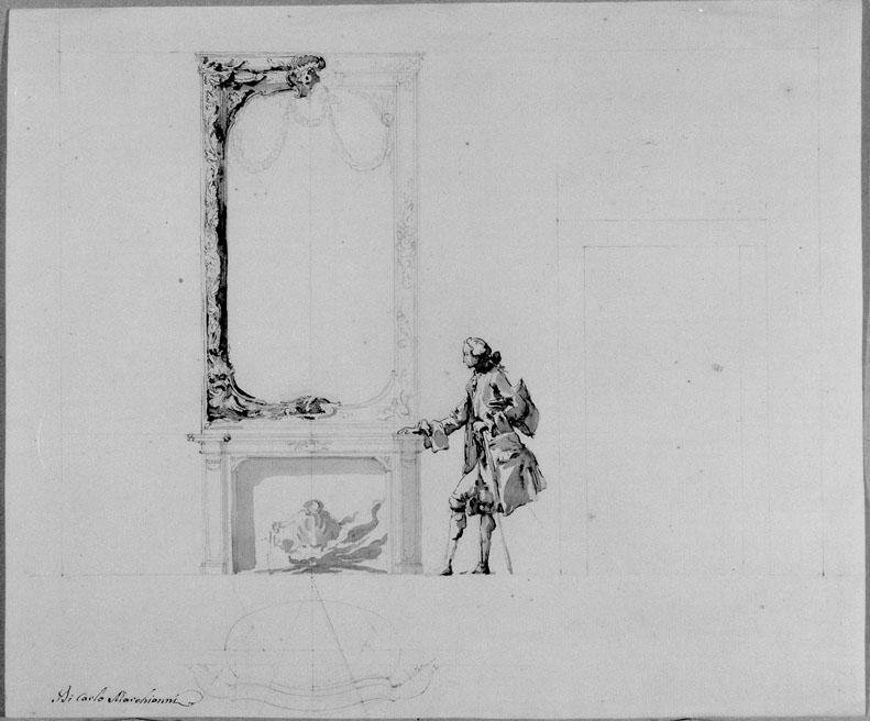 studio di camino (disegno) di Marchionni Carlo (sec. XVIII)