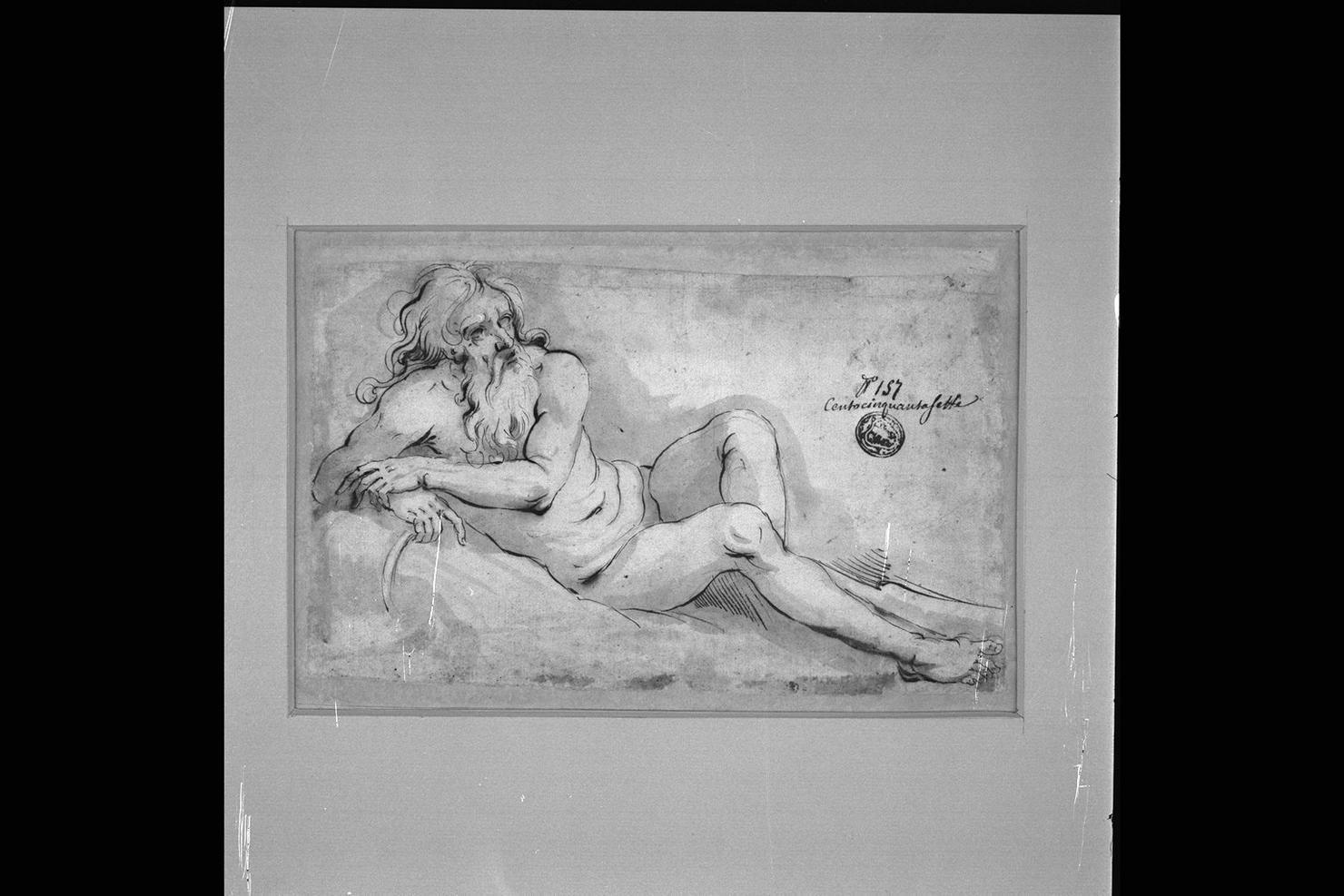 figura allegorica maschile (disegno) di Peruzzini Domenico (sec. XVII)
