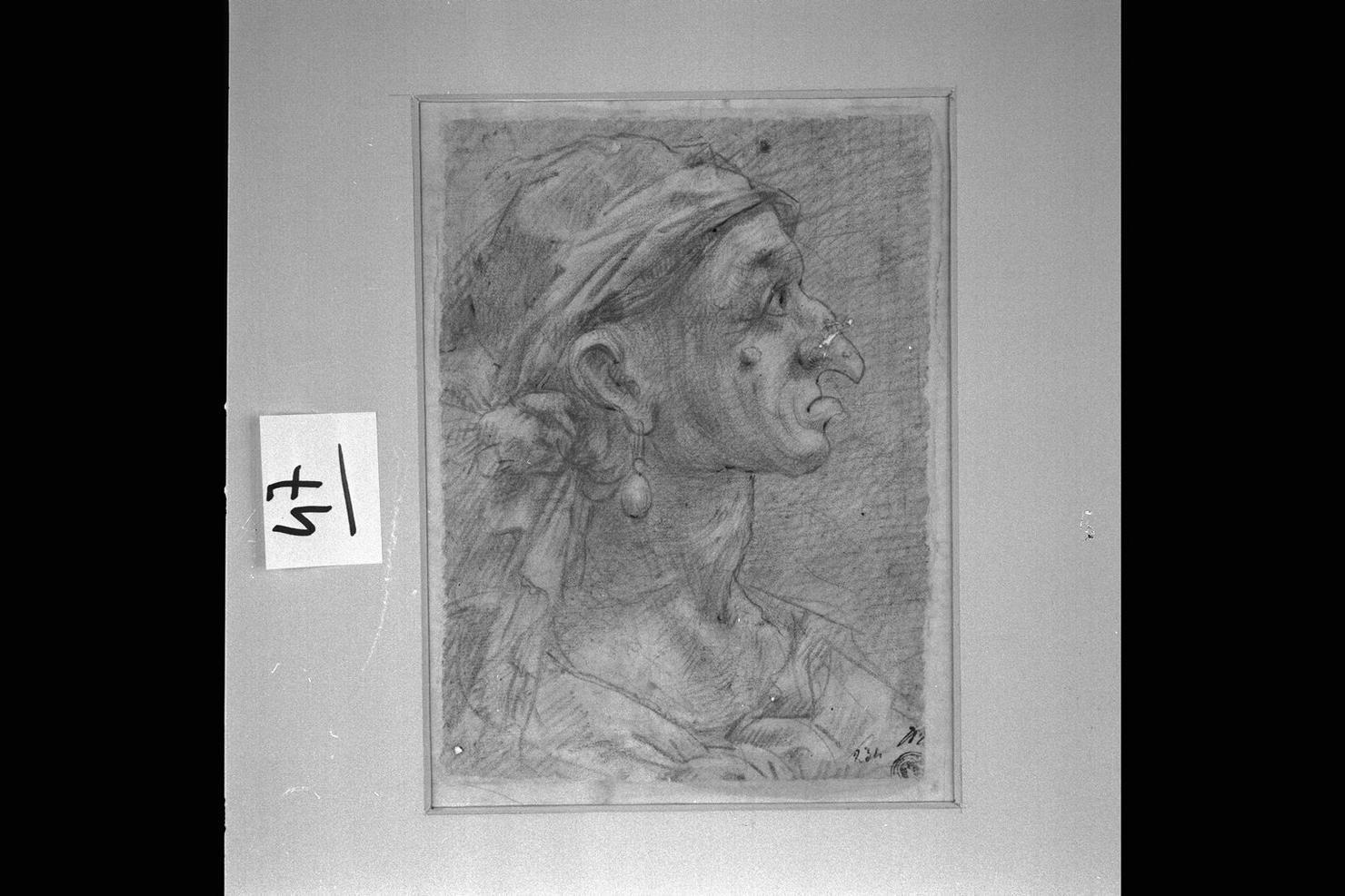 testa d'uomo di profilo (disegno) di Peruzzini Domenico (sec. XVII)