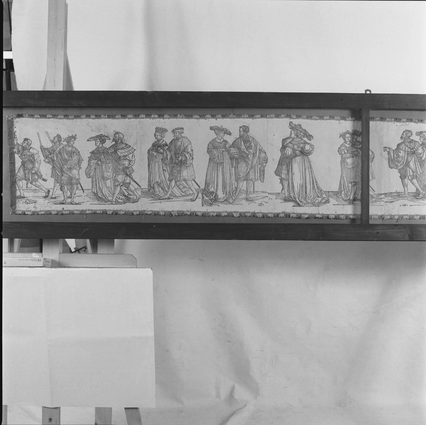 San Giuseppe conduce Maria Vergine nella sua casa (stampa, stampa composita) di Schäufelein Hans (sec. XVI)