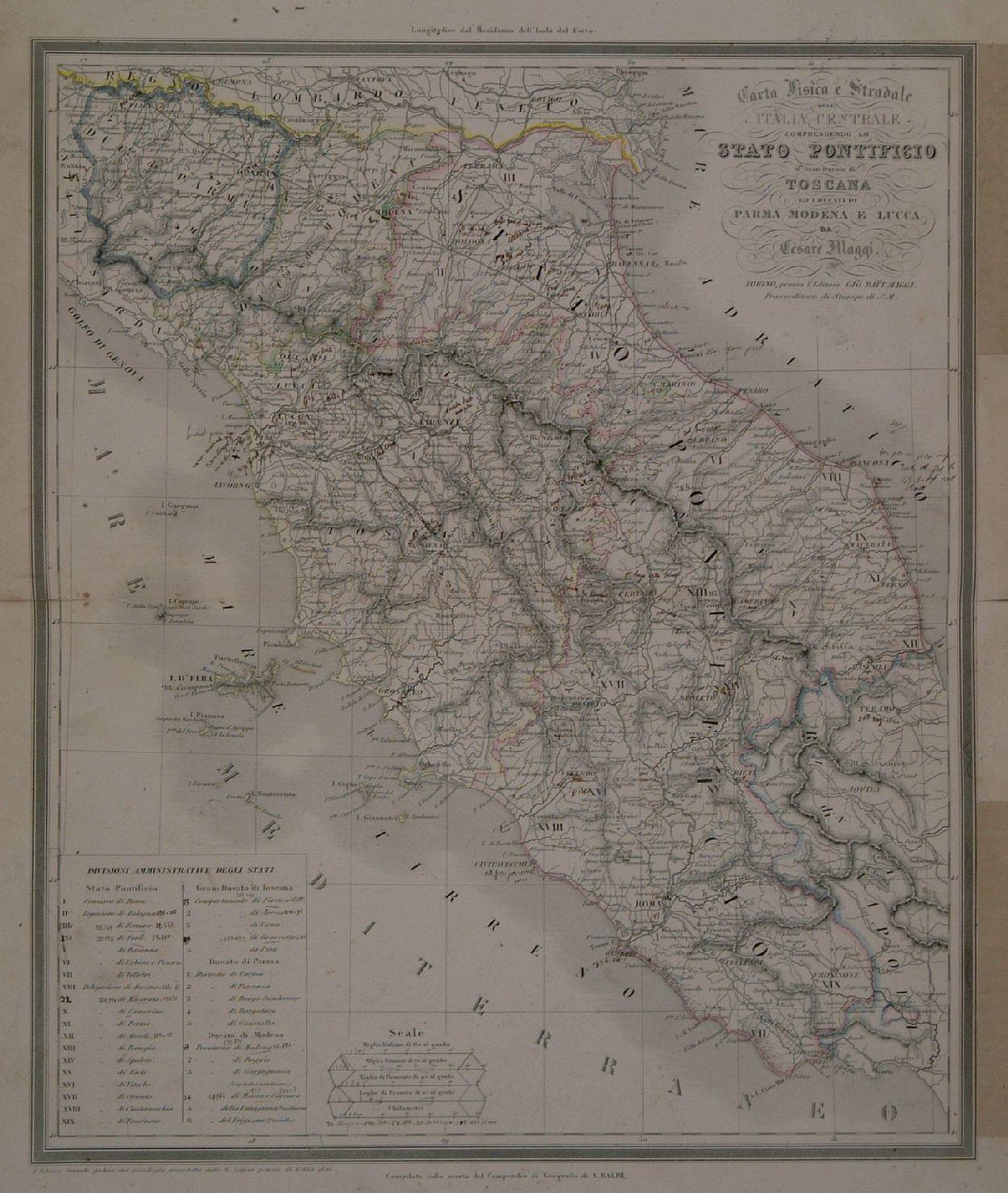 Stradale Cartina Geografica Toscana.Carta Fisica E Stradale Dell Italia Centrale Comprendendo Lo Stato