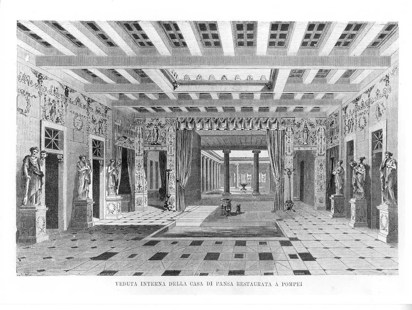 Veduta interna della casa di Pansa restaurata a Pompei, veduta di un palazzo (stampa) di Lancilat (attribuito), Minne (attribuito) (sec. XIX)