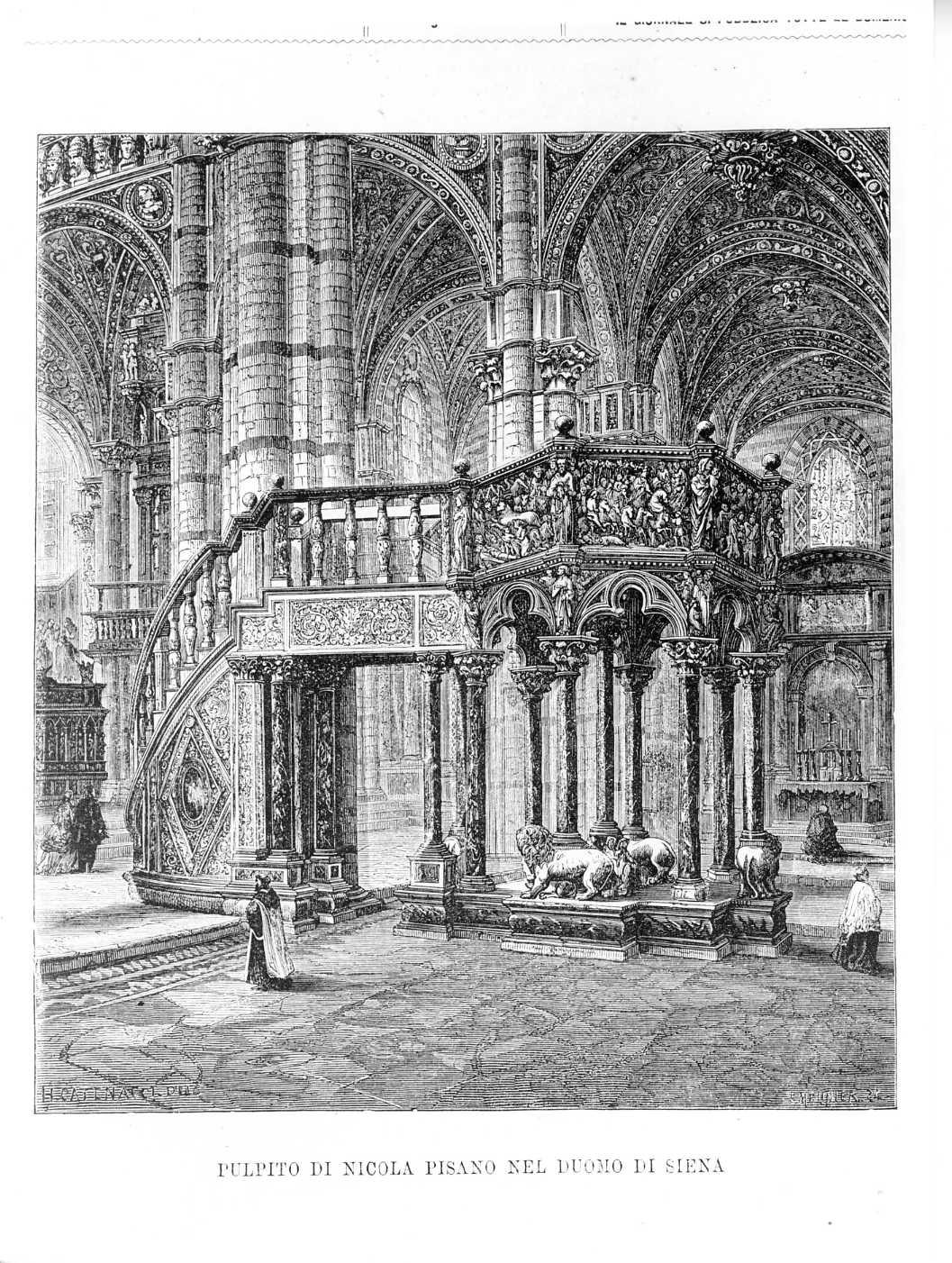 Pulpito di Nicola Pisano nel duomo di Siena (stampa) di Meunick K (attribuito), Catenacci H (attribuito) (sec. XIX)