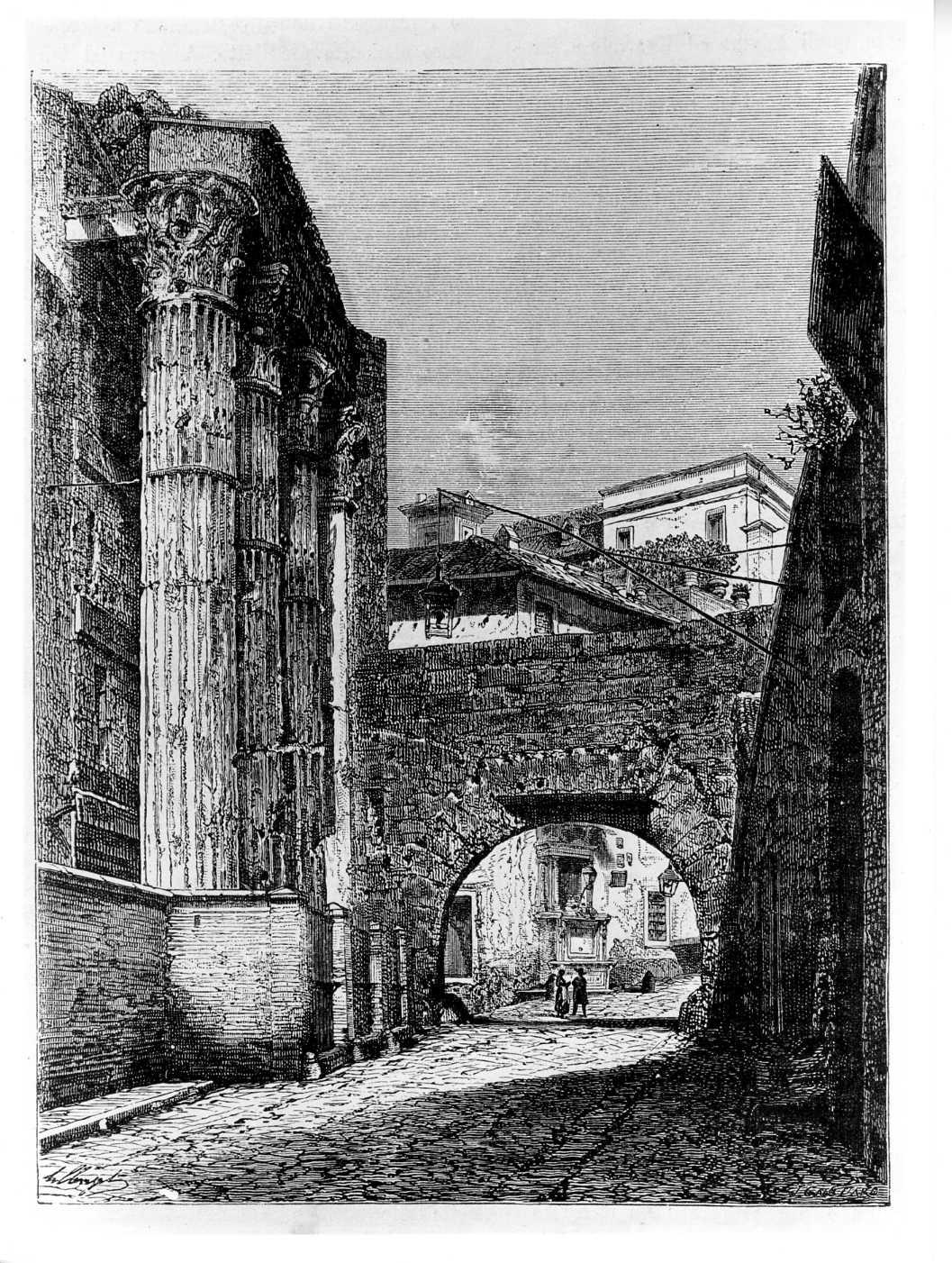 Il tempio di Marte Ultore e l'arco detto dei Pantani, paesaggio con architetture (stampa) di Nurget L (attribuito), Ga(...)ttard J (attribuito) (sec. XIX)