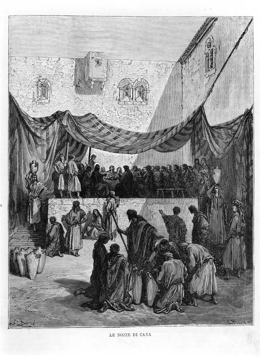 Le nozze di Cana, le nozze di Cana (stampa) di Doré Gustave, Maurand C (sec. XIX)