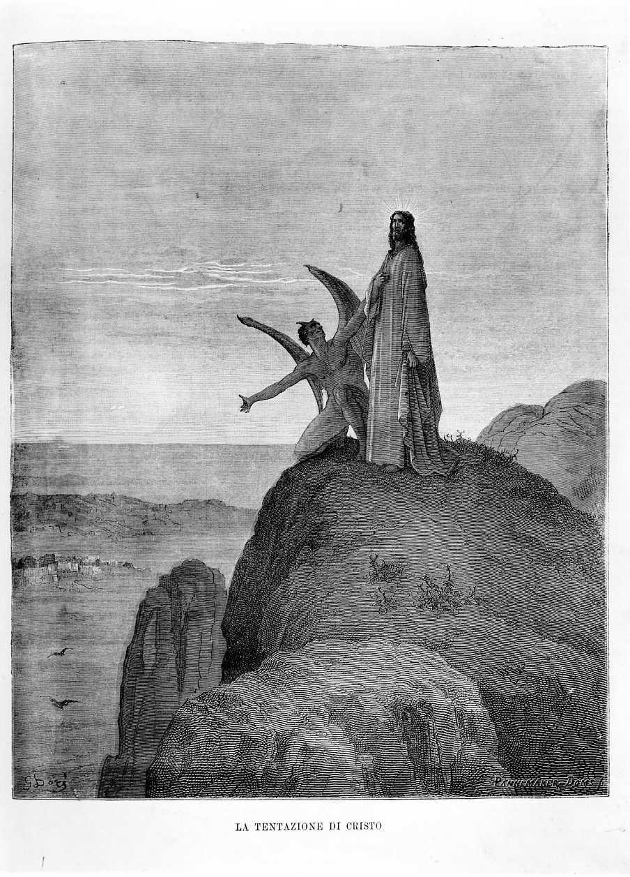 La tentazione di Cristo, Cristo tentato da Satana (stampa) di Doré Gustave (sec. XIX)