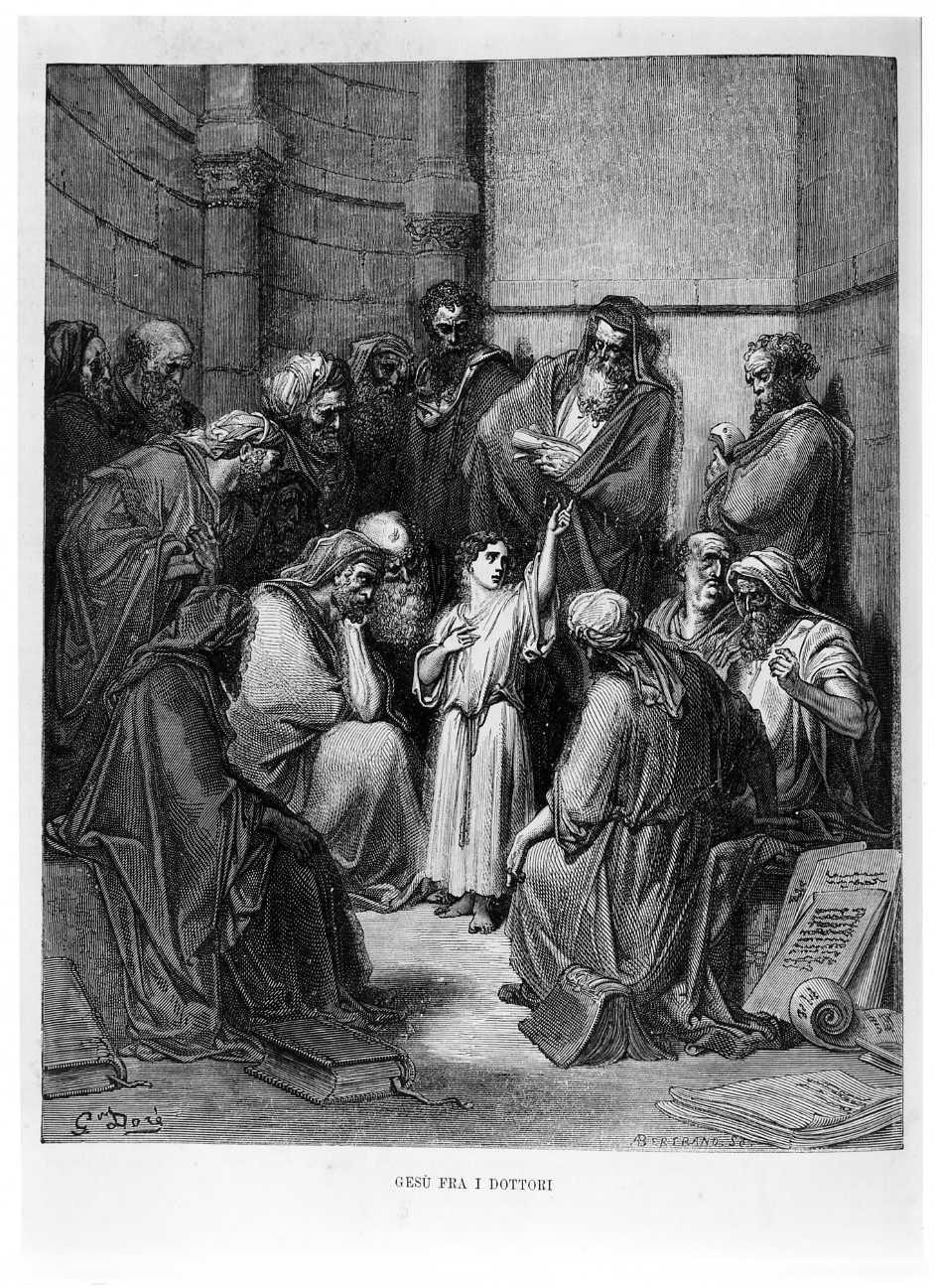 Gesù fra i Dottori, disputa di Gesù con i Dottori nel Tempio (stampa) di Bertrand Adolphe, Doré Gustave (sec. XIX)