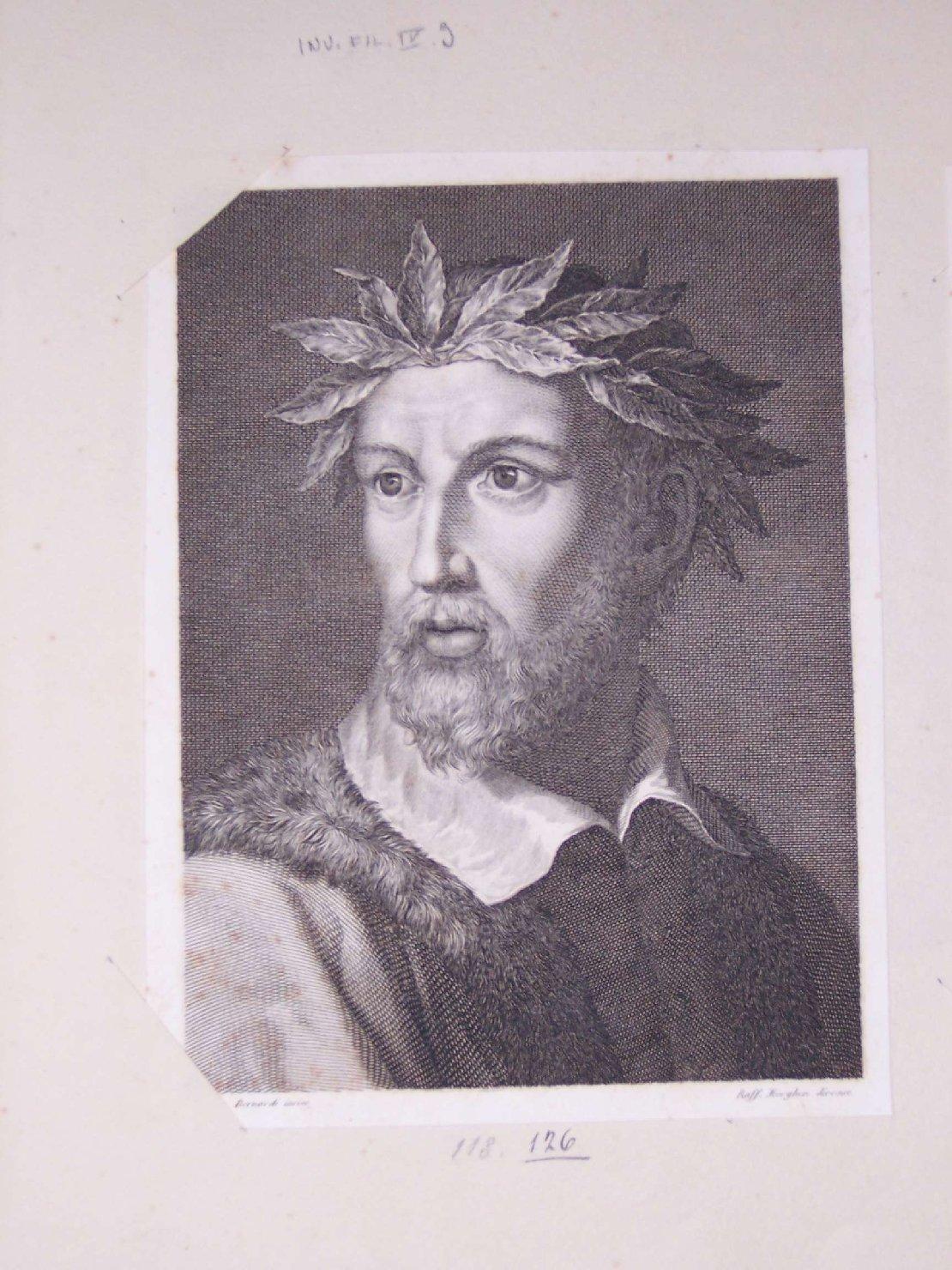 ritratto di Ludovico Ariosto (stampa) di Morghen Raffaello, Bernardi Jacopo (sec. XIX)