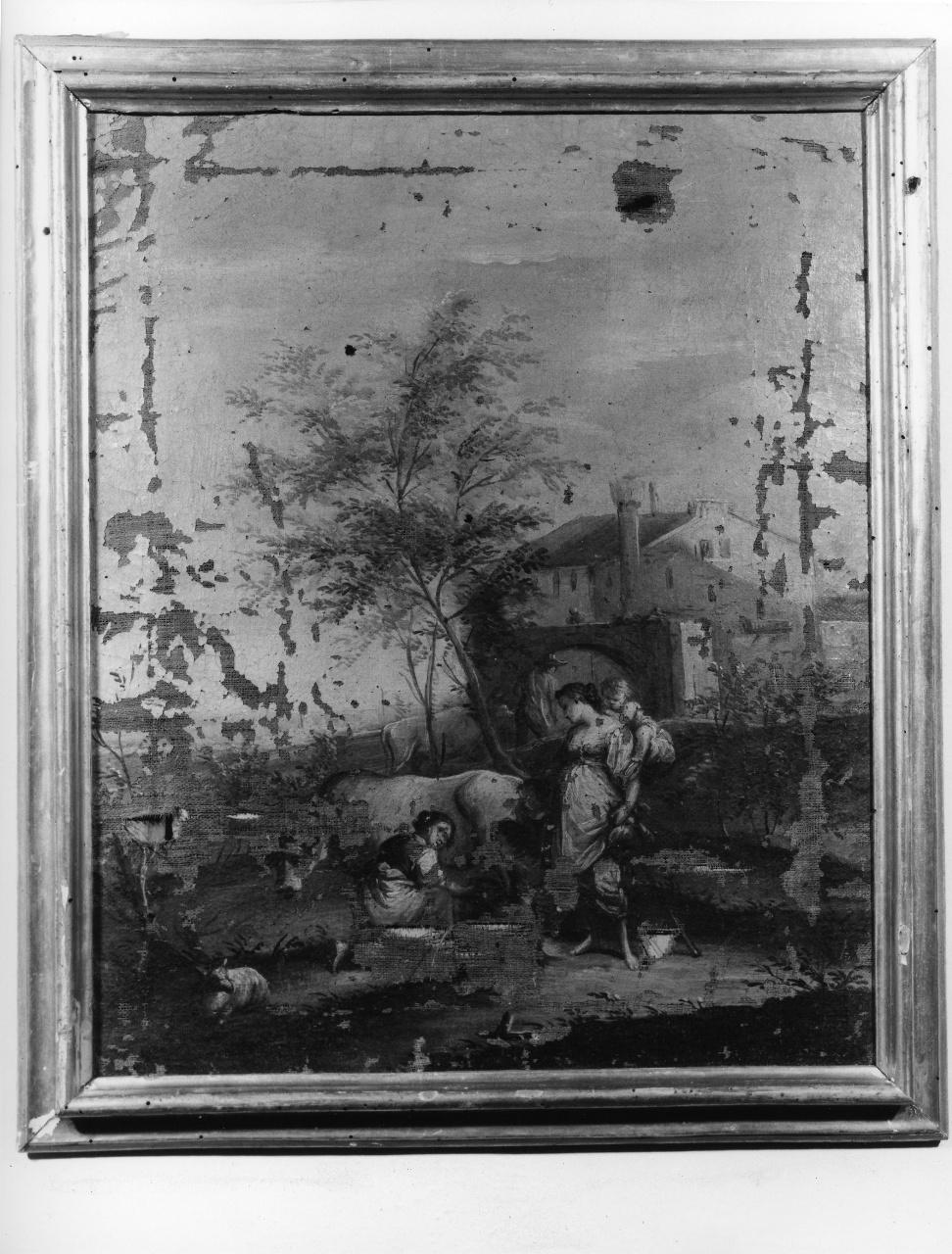 scena campestre con figure (dipinto) - ambito toscano (metà sec. XVIII)