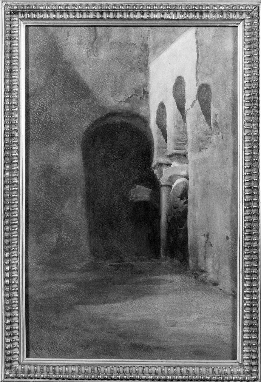suora sotto un loggiato (dipinto) di Cabianca Vincenzo (seconda metà sec. XIX)