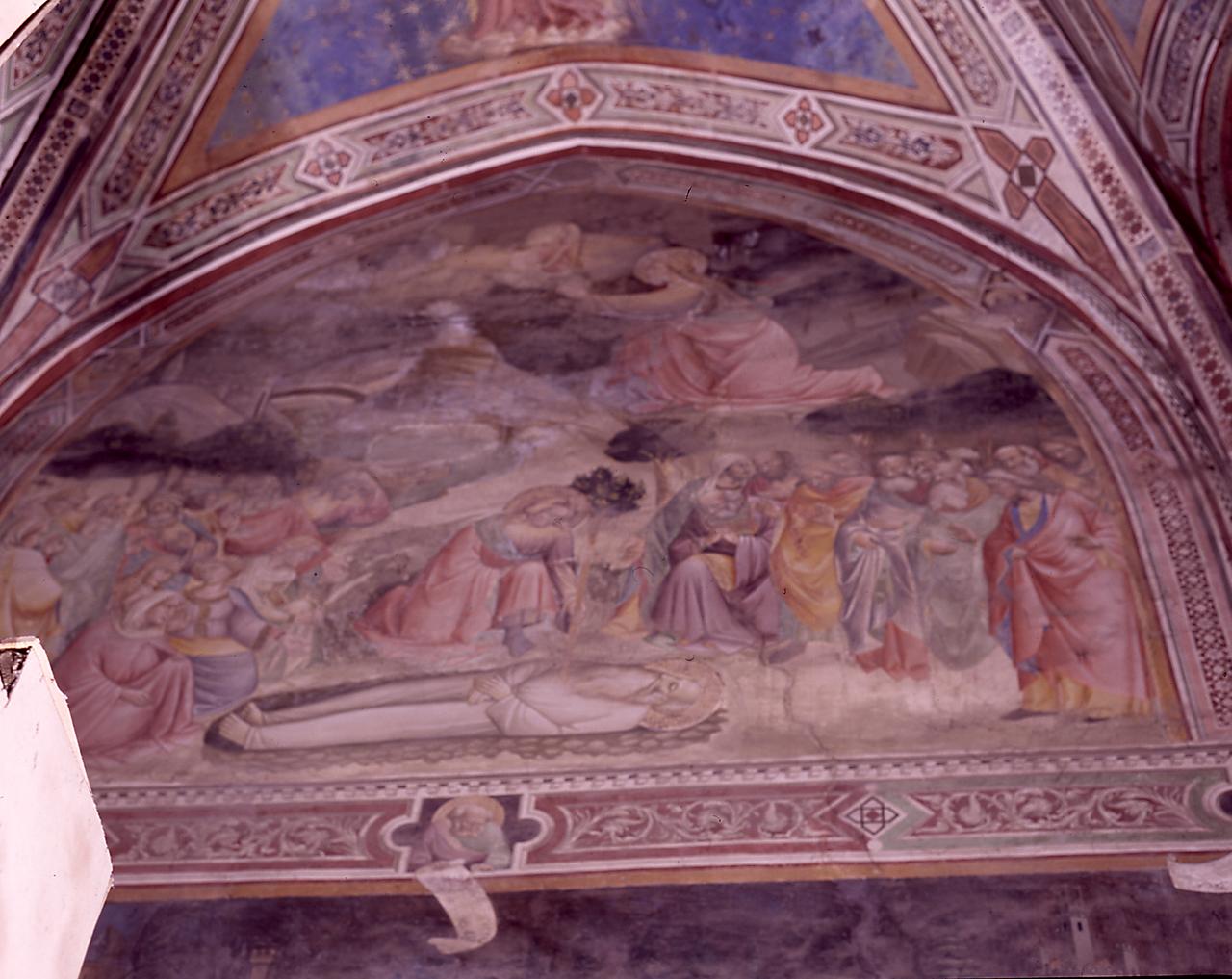Seth alla ricerca del Paradiso e Seth pone un ramo dell'albero della conoscenza sulla tomba di Adamo (dipinto) di Gaddi Agnolo (e aiuti) (sec. XIV)